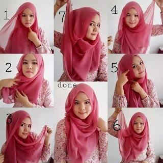 Tutorial hijab segi empat untuk wajah bulat dan pipi tembem