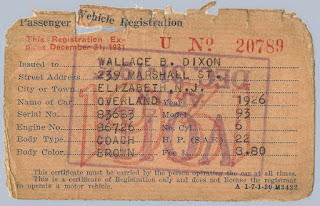 1931 NJ Passenger Vehicle Registration issued to Wallace B. Dixon for his 1926 Overland Coach. Privately held by E. Ackemann, 2016.