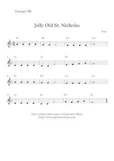 Jolly Old St. Nicholas, trumpet score