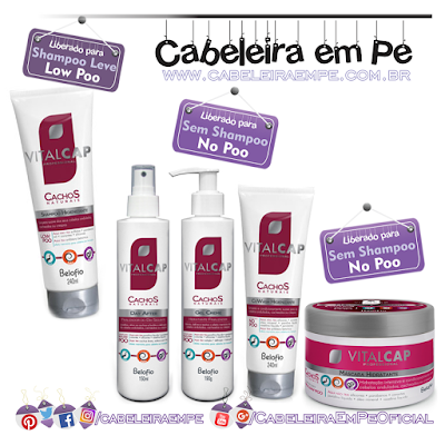 Linha Cachos Naturais - Viltalcap Belofio (shampoo Low Poo --- cowash, máscara, spray day after e  gel-creme liberados para No Poo)