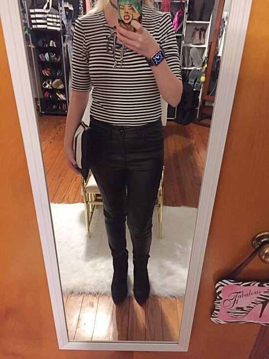 black and white stripe lace up shirt outfit of the day