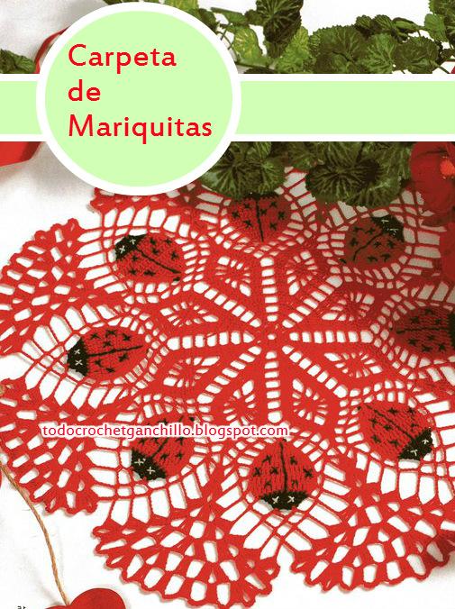 Carpeta tejida con ganchillo con diseño de mariquitas o vaquitas de san antonio