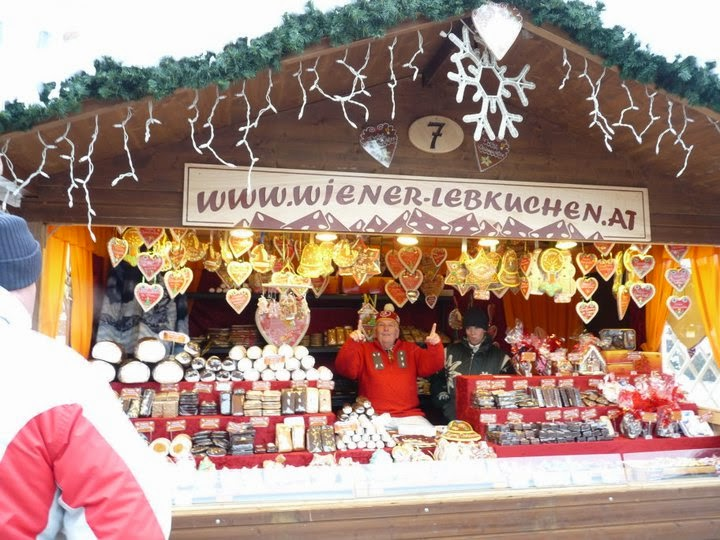 A lebkuchen stall at a Christmas market in Vienna