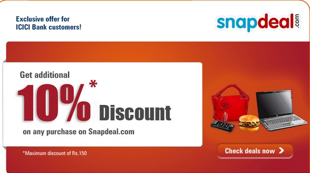 snapdeal coupon icici