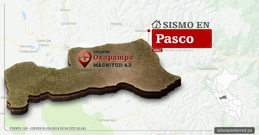 Temblor en Pasco de Magnitud 4.3 (Hoy Jueves 21 Febrero 2019) Sismo Epicentro Oxapampa - Puerto Bermúdez - Pozuzo - Villa Rica - Huancabamba - Chontabamba - IGP - www.igp.gob.pe