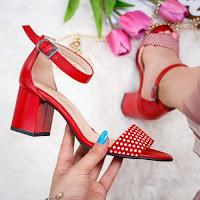 Sandale dama cu toc piele naturala rosii cu buline Vabitili