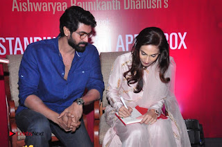 Aiswarya Rajinikanth Dhanush Standing on an Apple Box Launch Stills in Hyderabad  0070.jpg