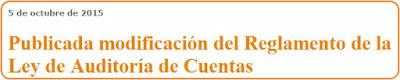 Modificación del reglamento de la ley de auditoría de cuentas entidades de interés público
