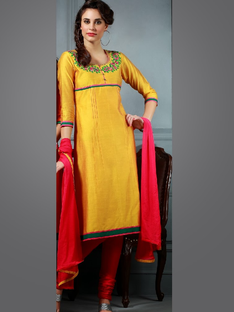 Indian Casual Wear Salwar Kameez 2013 2014 Kalyan Silk