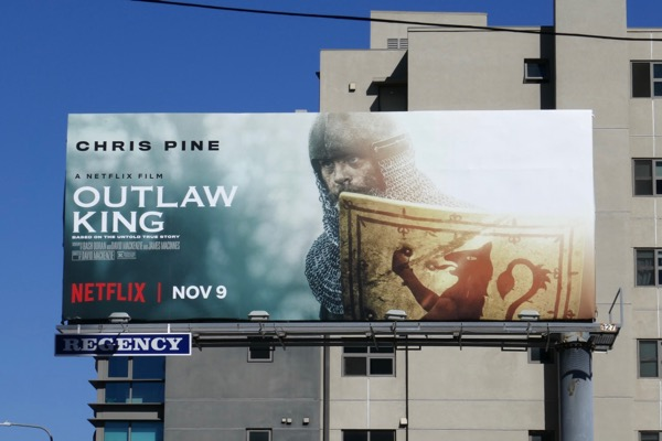 Chris Pine Outlaw King movie billboard