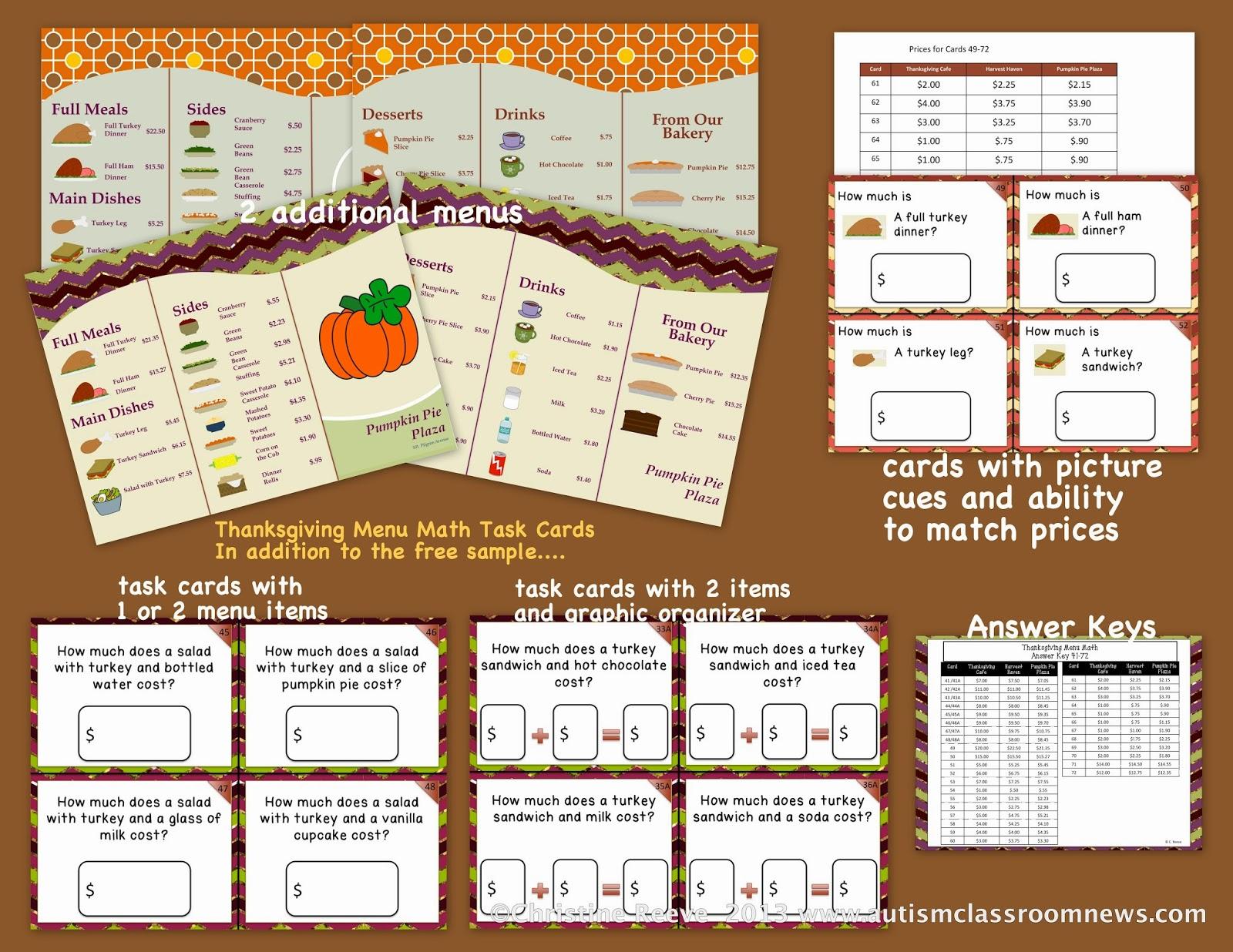 Thanksgiving Menu Math Applications Of Teaching Money Use