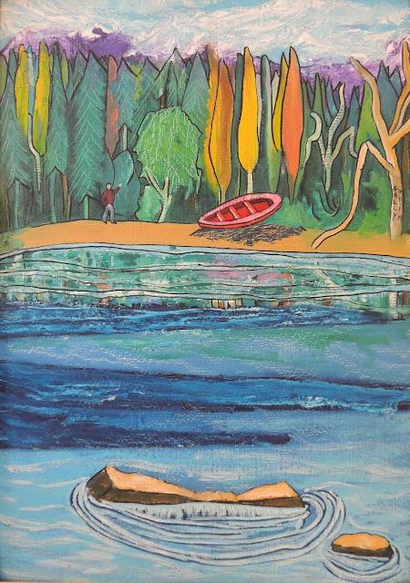 Sally Weintraub paisaje de Bariloche arte naíf surrealismo