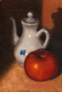 Oil painting of a red tomato beside a small white porcelain Chinese teapot.