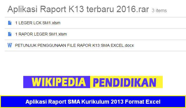 Aplikasi Raport Sma Kurikulum 2013 Format Excel Sch Paperplane