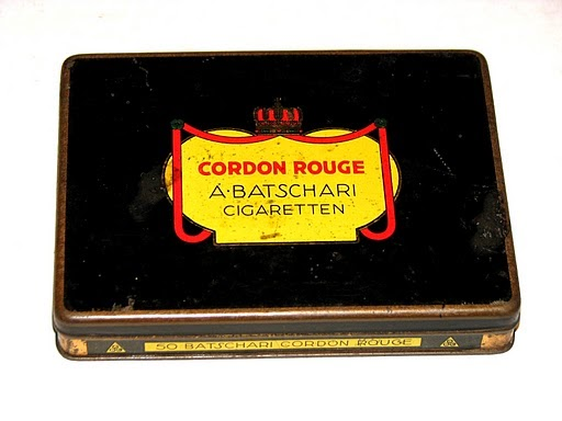 Example of a Cordon Rouge cigarette tin from A. Batschari Company.