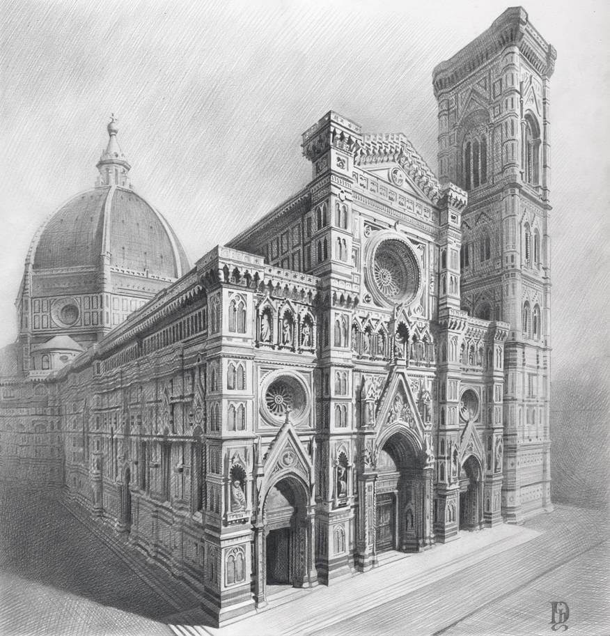 01-Gothic-Cathedral-Denis-Chernov-Urban-Architecture-Pencil-Drawings-www-designstack-co
