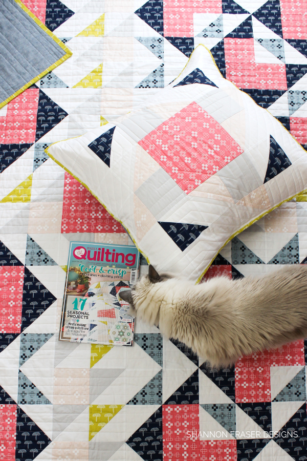 Double Windmill Quilt + Pillow featured in Love Patchwork & Quilting Magazine Issue 67 | Shannon Fraser Designs | Modern Quilting