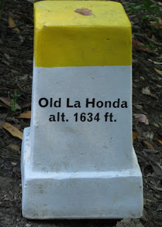White road marker with a yellow top, Old La Honda, alt. 1634 ft, near Woodside, California