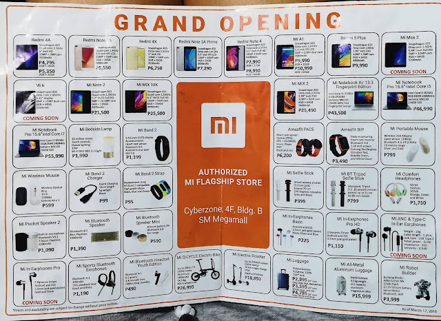 Xiaomi SM Megamall Grand Opening price list
