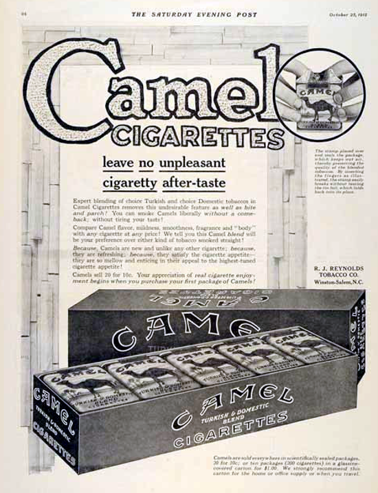 Camel cigarettes advertising 1915
