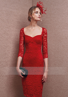 red sleeves lace wedding dress