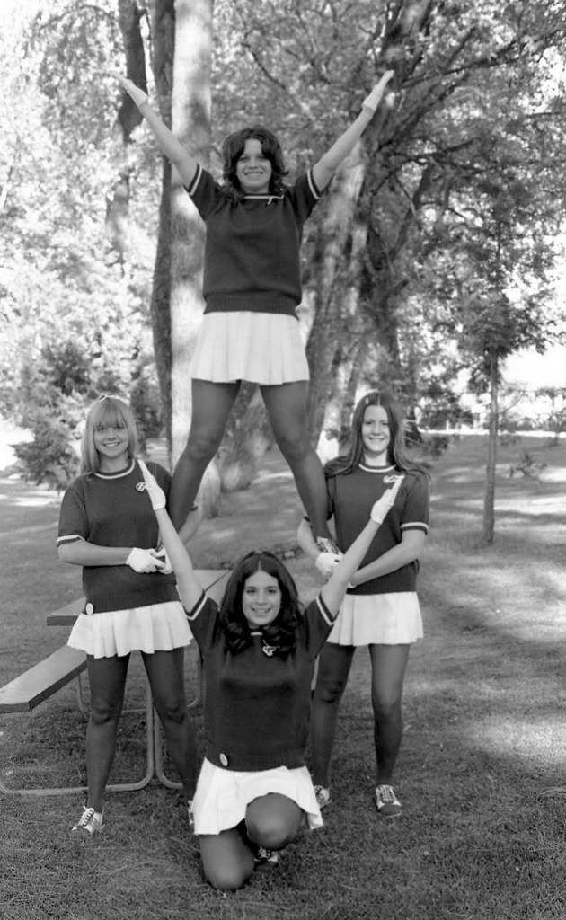 BW Photographs of Cheerleaders in 1960s  70s  vintage