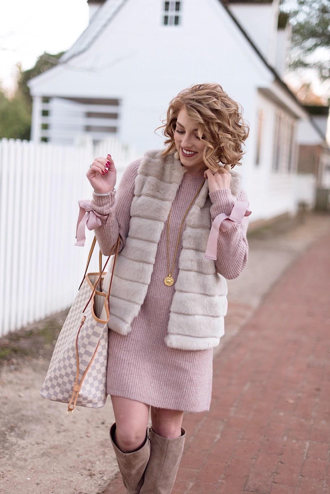 Bow Sleeve Sweater Dress & Faux Fur Vest - Something Delightful Blog