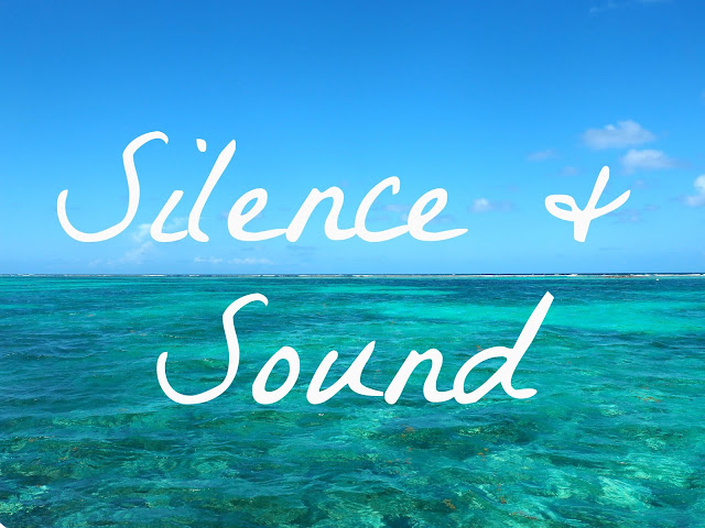 """Silence & Sound"" text on background of turquoise ocean lagoon and blue sky near Caye Caulker, Belize"