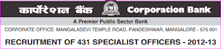 corporation bank So Recruitment 2012