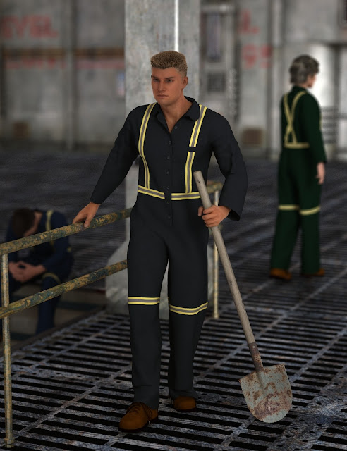 Blue Collar Basics Coveralls for Genesis 2 Males and Females Bundle