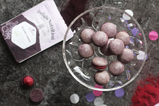 Purple bilberry macarons recipe