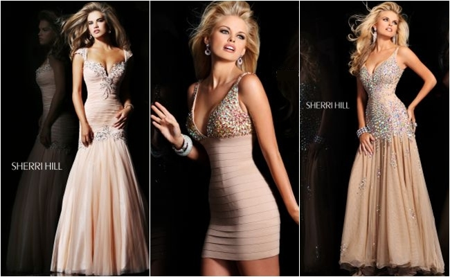 Sherri Hill beige dresses with crystal decoration