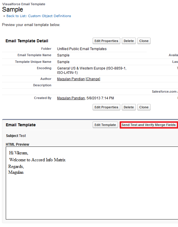 Infallible Techie Simple Visualforce Email Template