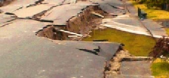 Collapsed pavement under wetting of underneath soil