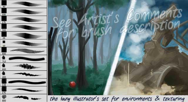 The-Lazy-Illustrators-Brushset-by-Spelledeg