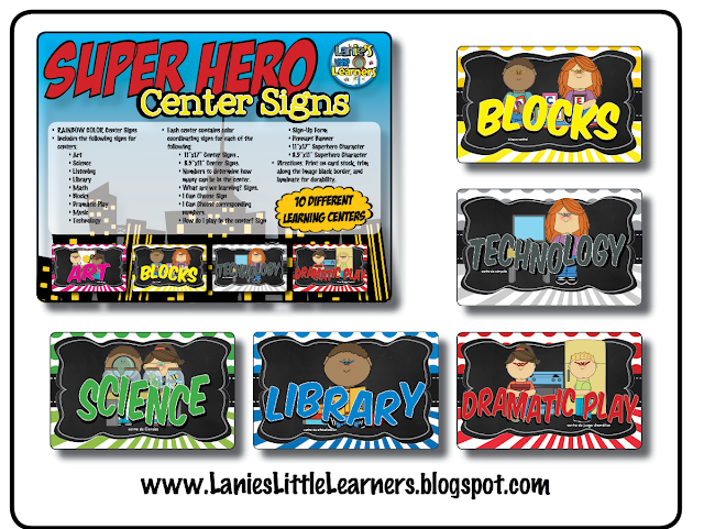 Center Signs {Superhero Theme}