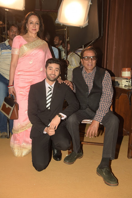 Hema Malini, Utkarsh Sharma, and Dharmendra  during Mahurat ceremony  of the film GENIUS