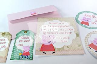 Invitaciones, sobres y etiquetas Peppa Pig