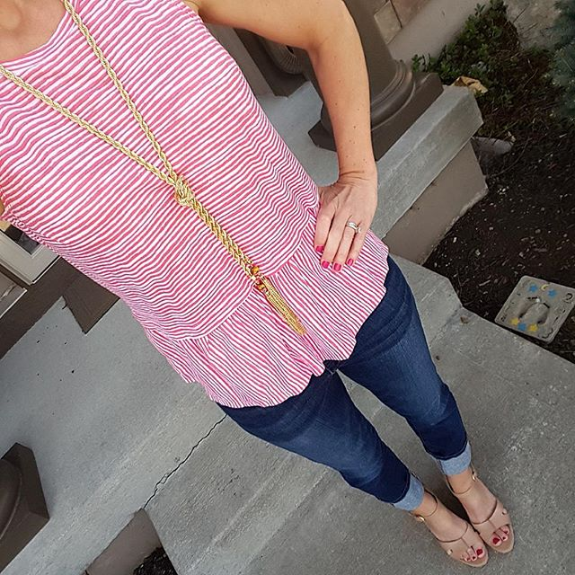 Old Navy Relaxed Peplum Top $9 (reg $20) - save an extra 20% with code BIGSAVE (ends 4/14) // Joe's Jeans Cuffed Crop - similar on sale for under $50 (reg $88) //  Ivanka Trump Wedges - similar // Purple Peridot Gold Tassel Lariat Necklace