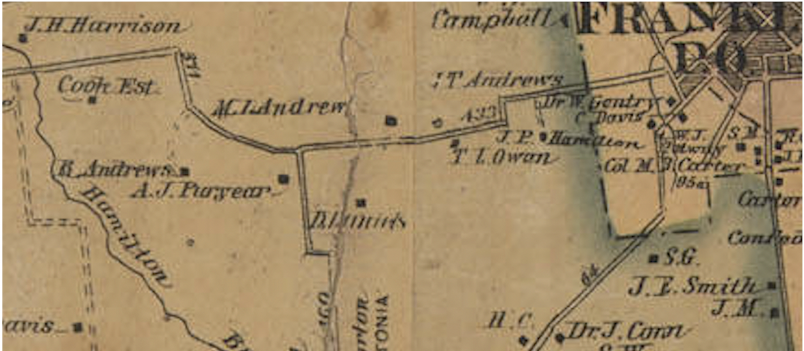a portion of 1878 map of williamson county showing the andrews farms on the west side of franklin