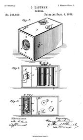 kamera George Eastman Film gulung. George Eastman patent no.388,850