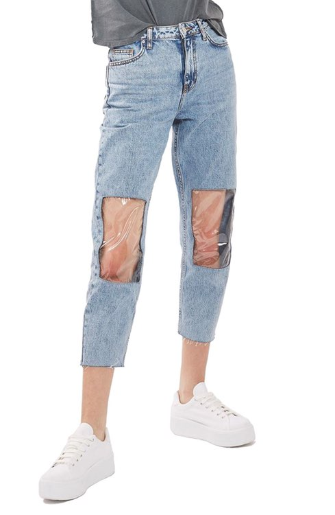 Top Shop Clear Knee Mom Jeans