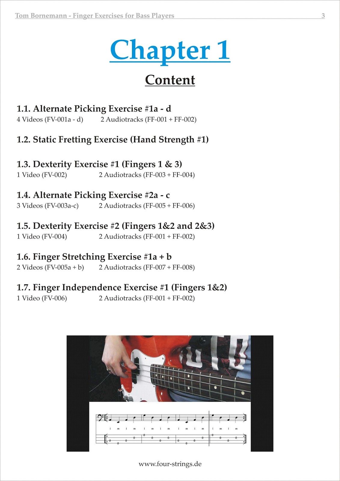 four strings basslessons lesson to go finger exercises for bass players chapter 1. Black Bedroom Furniture Sets. Home Design Ideas