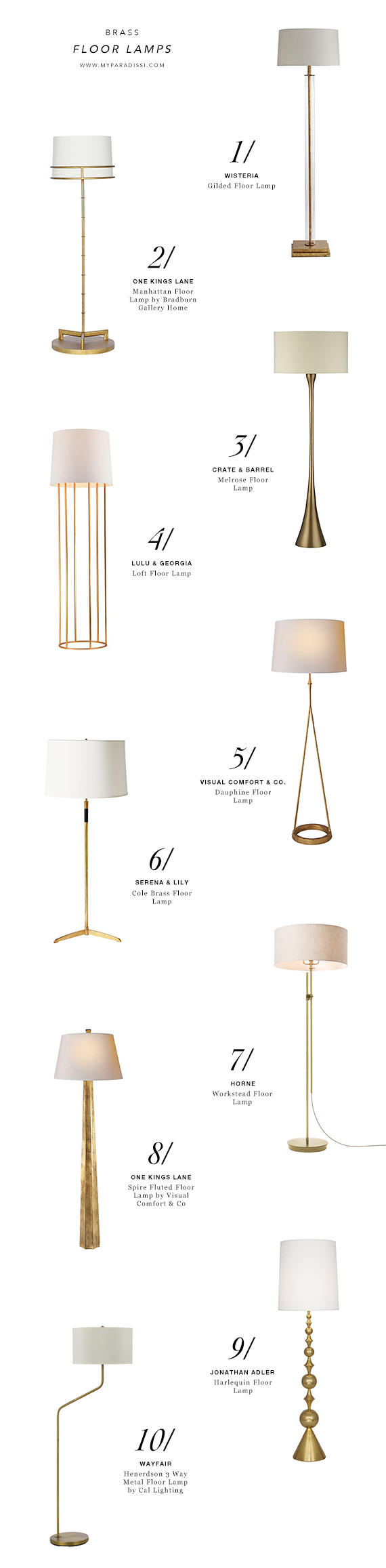 10 BEST: Brass floor lamps | My Paradissi