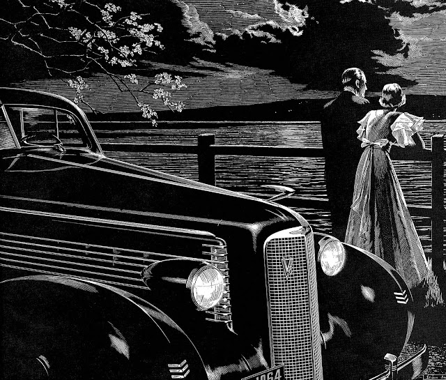 a 1937 Irwin Smith illustration, black car couple at night