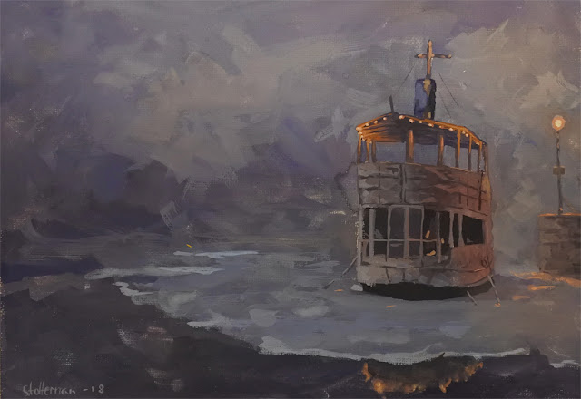 painting of a boat at night. On ice and next to a dock with streetlight. Night.