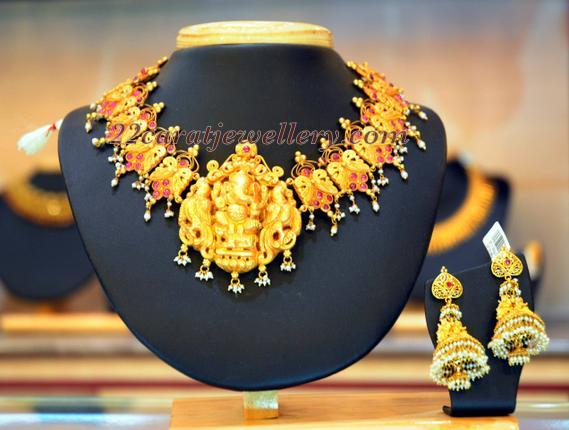 Ganesh Necklace From Bhima Jewellers Jewellery Designs