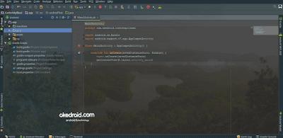 Android Studio dengan latar belakang gambar