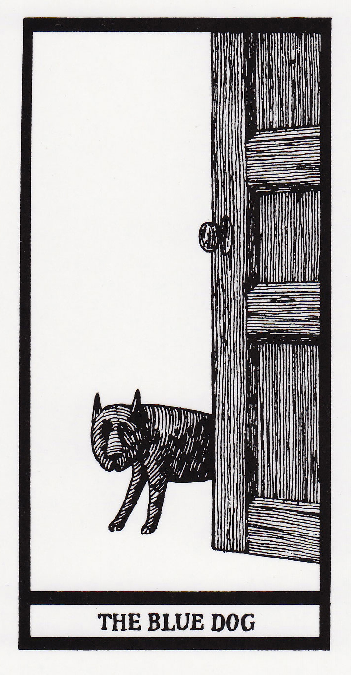 The Blue Dog from Edward Gorey's tarot pack The Fantod Deck on Notes from the Pack
