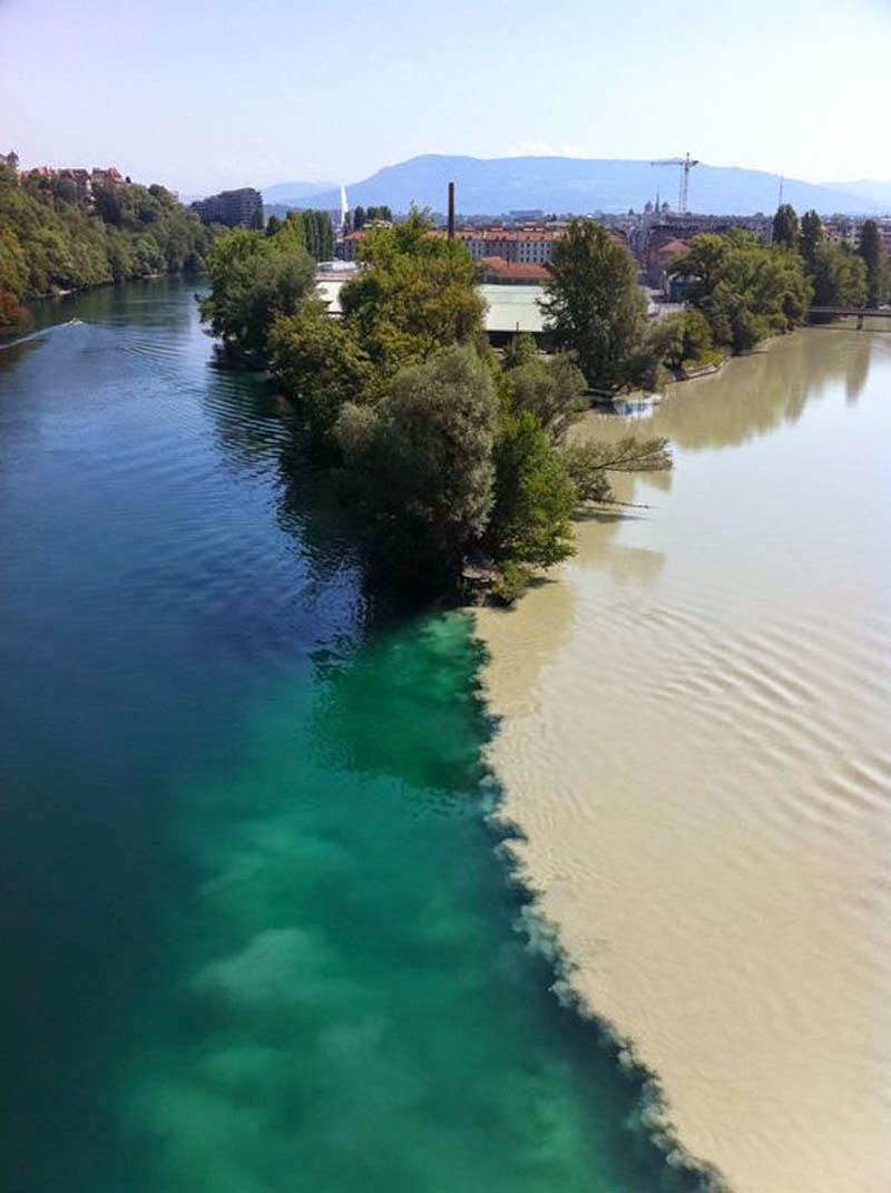 Confluence of the Rhone and Arve Rivers in Geneva, Switzerland. - Here Are 12 Points In The World Where Major Bodies Of Water Join Together… And They're So Awesome.